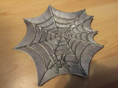 METAL 2d SPIDER SPIDERWEB HAUNTED Decor METAL PLATTER TRAY Plate