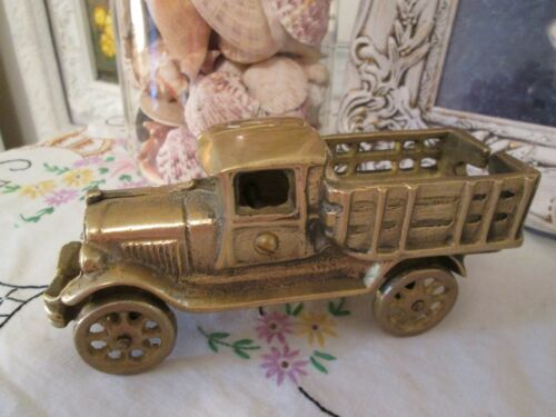 Vintage Brass Antique Stake Truck Great Man Cave Decor