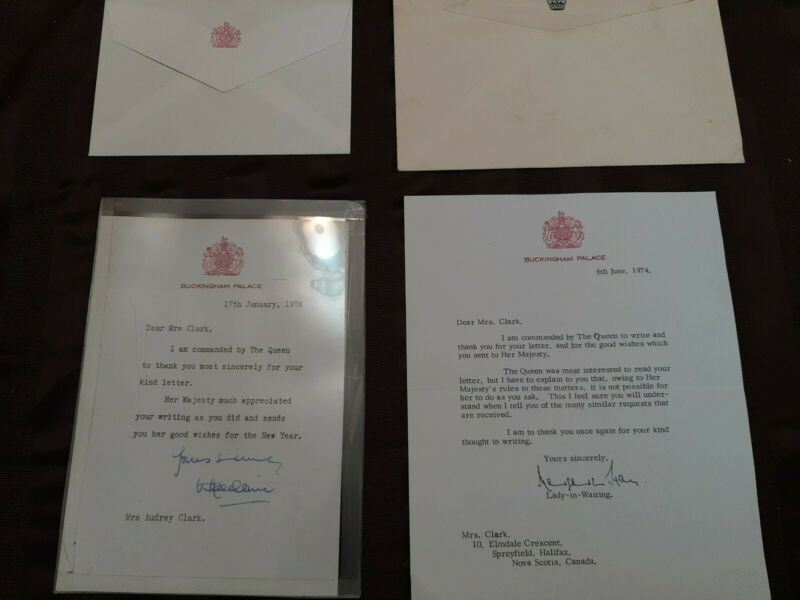 2 Letters From Buckingham Palace By Command Of The Queen