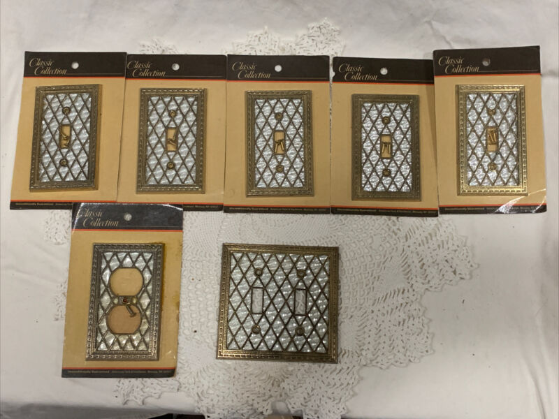 American Tack & Hardware Gold & Pearl Ornate Light Switch Plates Lot 7 NOS