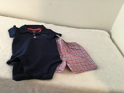 carters baby boy  Short sleeve bodysuit with plaid shorts.  3 6 9 12 18 24