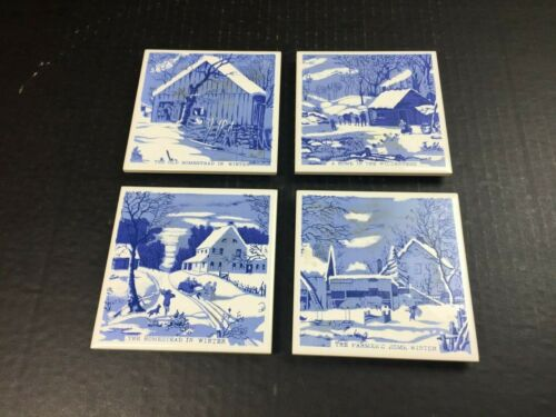 Price Products Bellmawr NJ Christmas Winter Homestead Ceramic Tile Trivets Set