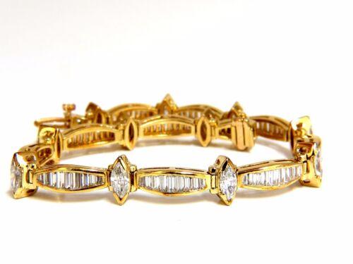 6.00ct Baguettes Marquise Diamond Tennis Bracelet 18kt G/vs +