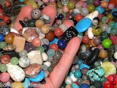 (NEW 6/oz Semi-Precious, Gem, stone, agate Gemstone 6-15mm  MIXED LOOSE BEADS LOT)