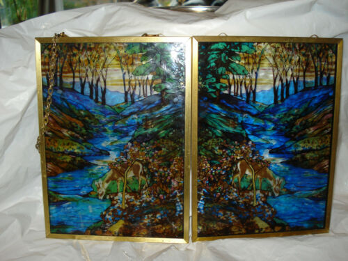 lot of 2  Louis Comfort Tiffany Glassmasters Stained Glass Guild Panel