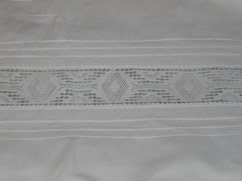 Exquisite Antique c1890s EURO SHAM PillowCase-Hand Crochet Lace Insert Pintucks