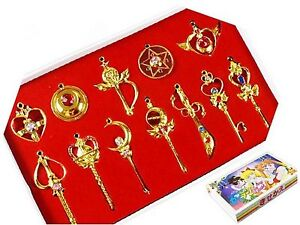 Sailor Moon Pretty Guardian 12PCS Cosplay Make Up Stick Keychain Necklace Toy...