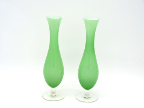 19th Century French Opaline Bud Vases Pair of Two