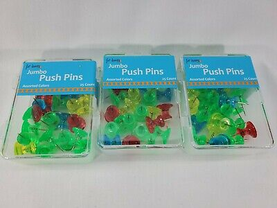 Jumbo Push Pins In Assorted Colors Board Office Pushpin 3 Set Of 25