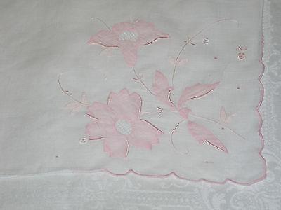 A /'Nelo/' Swiss Designer Hankie 1950s Textile Design Nelo Handkerchief Pink and Black on White With Crocheted Hem Added