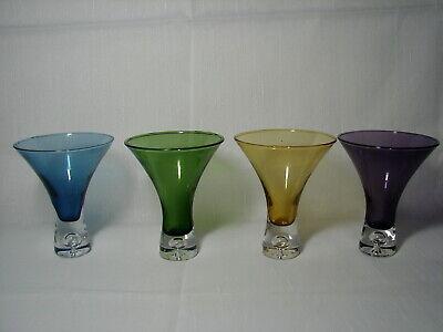 Set mit 4 Vtg 118ml Blown Glas Schwer Bubble Unten Martini Shooter Shot Gläser