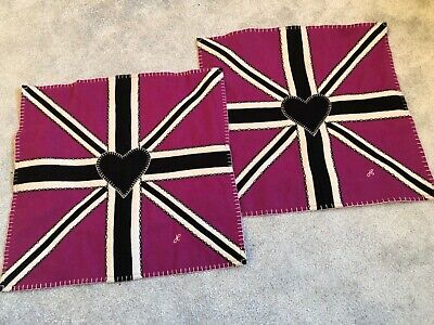 Jan Constantine Pink Heart Union Jack cushion cover