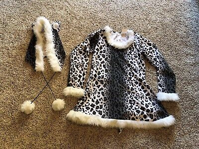Snow Leopard Kids Costume Large 12-14 Girls Halloween HAT DRESS ()