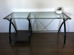 Contemporary metal and glass desk for sale