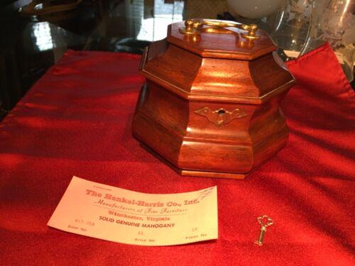 Vintage Henkel Harris Mahogany Tea Caddy with Label & Key