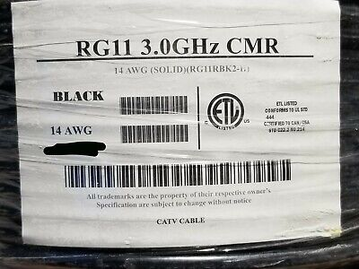All Star Cable Rg-11u 14awg Bccs 75ohm Coaxial Catv Antenna Cable 3ghz 100ft