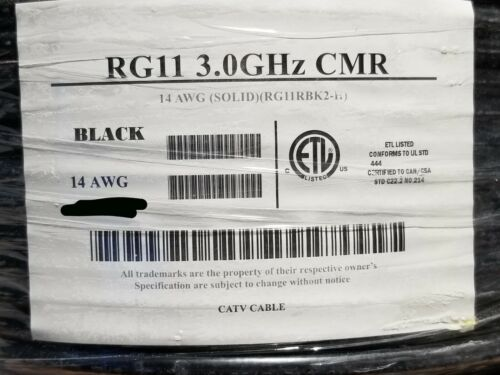 All Star Cable RG-11/U 14awg BCCS 75Ohm Coaxial CATV Antenna Cable 3GHz /100ft