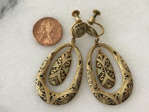 Vintage Damasquinado Damascene Jewelry Spanish Spain Dangle Earrings Brass WOW!
