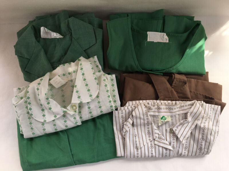 Vintage Girlscout Brownie Uniform Clothing 6 Lot Sz 12 14 Blouse Jumper Dress