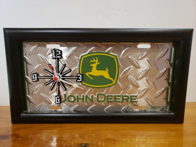 JOHN DEERE FRAMED CLOCK DIAMOND TREAD TRACTOR FARM TAG LICENSE PLATE DEER