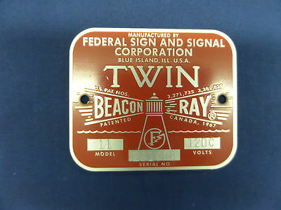Federal Sign And Signal Corporation Model 11 Twin Beacon Ray Replacement Badge