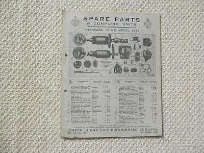 STANDARD TWELVE 12 1934 LUCAS Parts List published November 1933