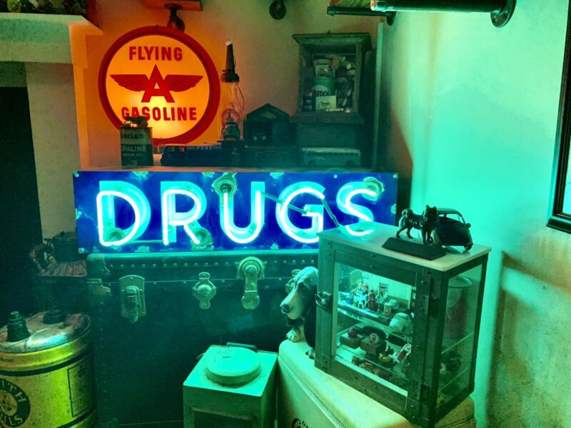 Vintage Authentic Antique Porcelain Neon Lighted Drugs Sign Neon Man Cave!