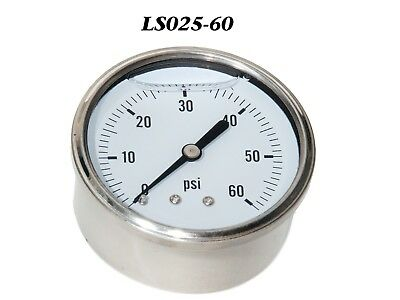 New Hydraulic Liquid Filled Pressure Gauge 0-60 Psi 14 Npt Center Back Mount