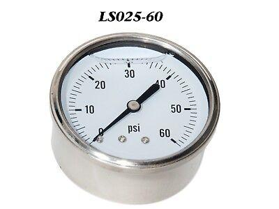 New Hydraulic Liquid Filled Pressure Gauge 0-60 Psi 14 Npt Cbm 2.5 Face