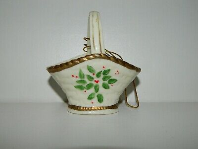 Ceramic Basket Christmas Tree Ornament w/ Gold Accent