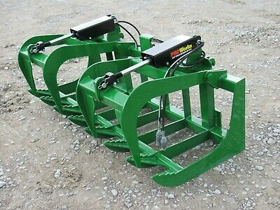 66 Dual Cylinder Root Grapple Bucket Attachment Fits John Deere Tractor Loader