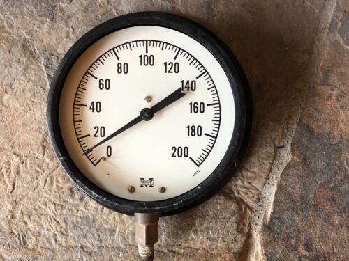 """Vintage Industrial Pressure Gauge, Steampunk, Metal, repurpose, 6 1/4"""" diameter"""