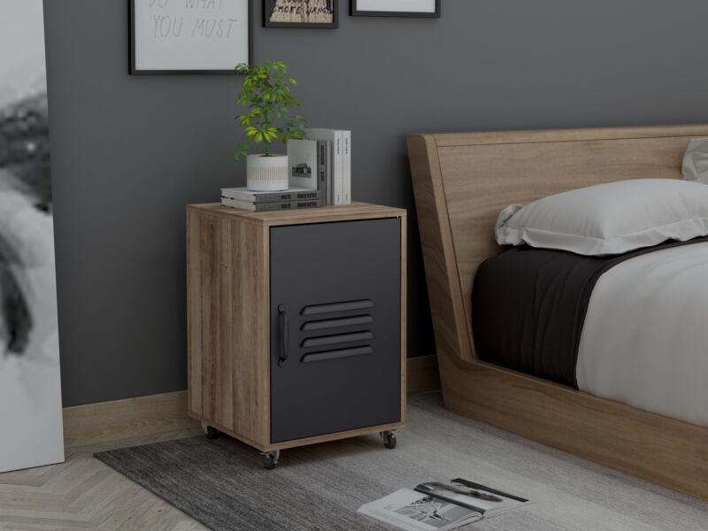Chest Of Drawers Dresser 2 Tier Furniture Wheel Cabinet Black Bedroom Storages