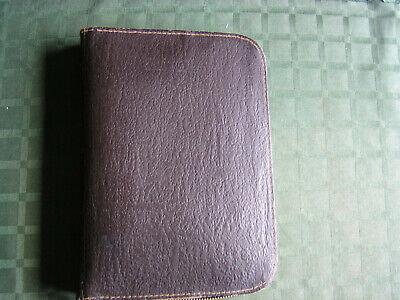 Vtg Pebble Leathercloth Bee Line Zippered 3ring Binder Folio Notebook Organizer