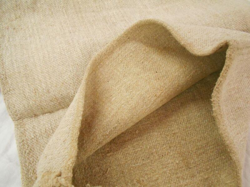Vtg Antique NO STRIPES European HEMP LINEN Fabric FEED SACK GRAIN BAG 19x39