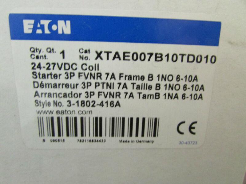 Eaton Cutler Hammer XTAEOO7B1OTDO1O Overload Relay 24-27 VDC Coil