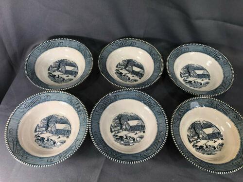 6 Currier & Ives Dessert Bowls School House Sleighing Horses Children