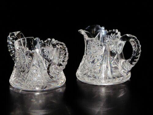 Creamer & Sugar, American Brilliant Cut Glass.