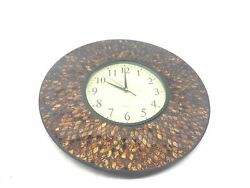 Lulu Decor, 19 Amber Comb Mosaic Wall Clock with Black Cement, Arabic Number Gl