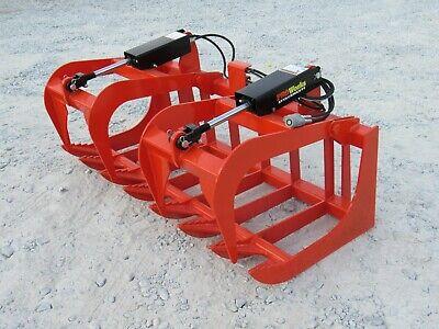 60 Dual Cylinder Root Rake Grapple Attachment Fits Kubota Tractor Loader Qa