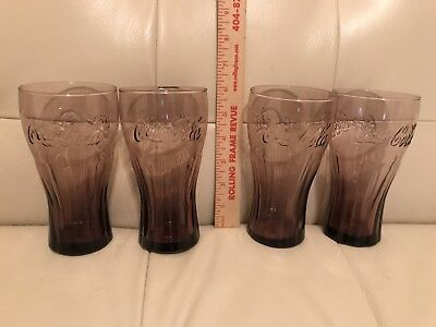 Set of 4 Coca Cola Coke McDonalds Amethyst Glasses Bell Shaped Tumblers