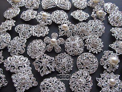Mixed Brooch Lot 10-100 Silver Pearl Rhinestone Crystal Pin Wedding Bouquet DIY
