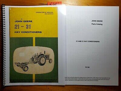 John Deere 21 Sn 3301- 31 Sn 2101- Hay Conditioner Owner Operator Manual Parts