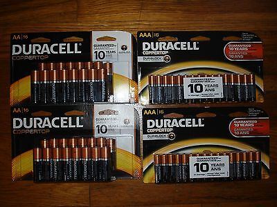 16 X 2 AA & 16 X 2 AAA   DURACELL BATTERIES. TOTAL OF 64  BATTERIES.