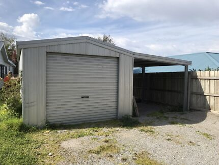 Single car steel garage with carport. 6 m d x 6.4 w Victoria