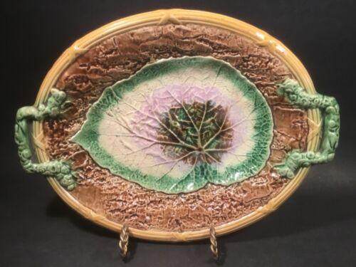 Antique Majolica Begonia Leaf on Bark Platter c.1800