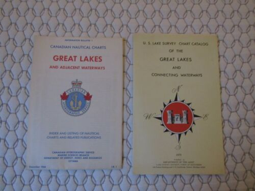 VINTAGE Nautical Charts Great Lakes And Connecting Adjacent Waterways USA Canada