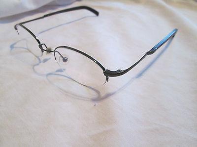 Police gunmetal semi rimless glasses frames. (Police Rimless Glasses)