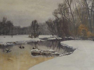 """Kunstdruck nach August FINK, München 1846-1916""""WINTERZEIT"""" Schnee, Fluss ,Enten"""