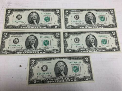 CONSECUTIVE $2 CURRENCY TWO DOLLAR USA NOTES NEW CRISP MONEY UNCIRCULATED.
